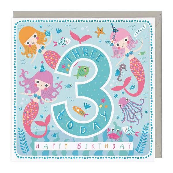 3rd Birthday Card - Mermaids