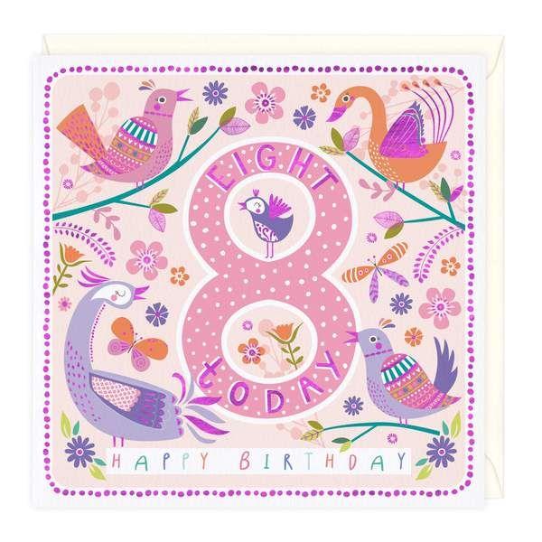 8th Birthday Card - Happy Birds