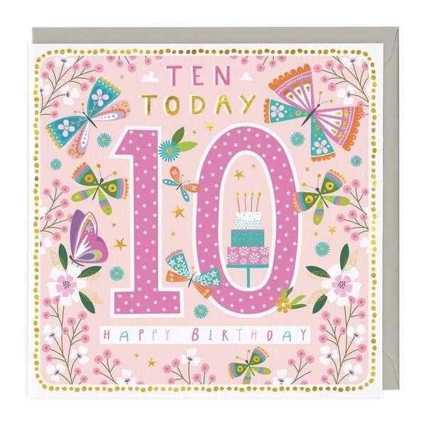 10th Birthday Card - Butterflies