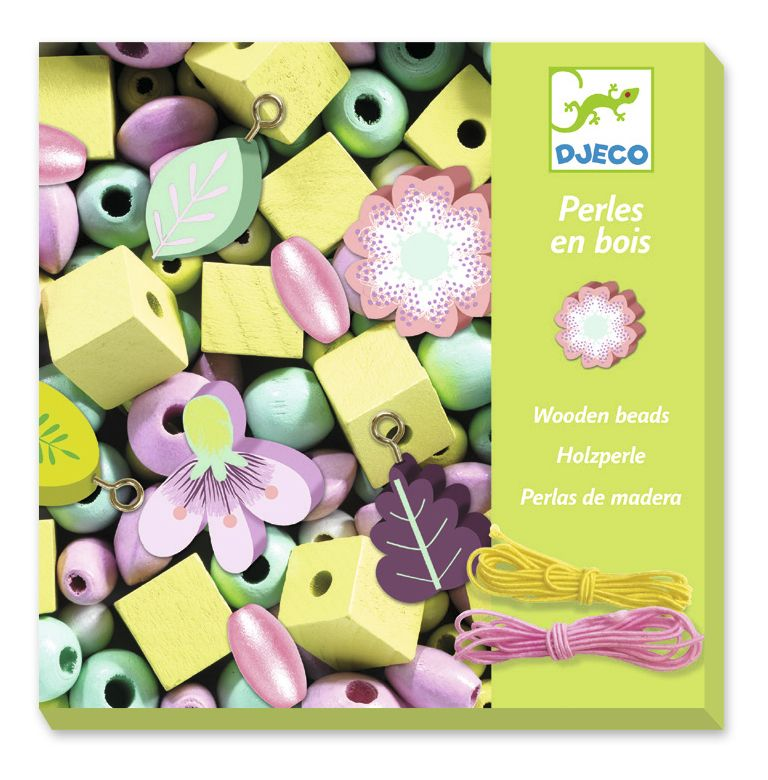 Djeco Wooden Threading Beads - Flowers and Foliage