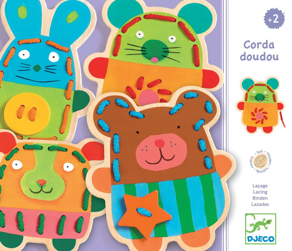 Wooden Animal Threading Set - Djeco Corda doudou