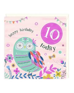 10th Birthday Card - Owl