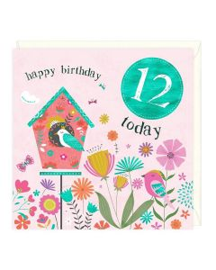 12th Birthday Card - Birdhouse