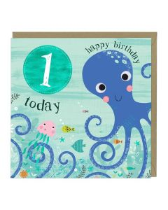 1st Birthday Card - Octopus