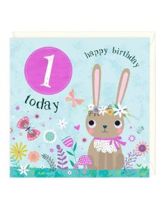 1st Birthday Card - Bunny