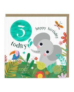 3rd Birthday Card - Elephant