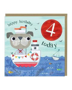 4th Birthday Card - Sailor Dog