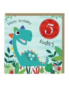 5th Birthday Card - Dinosaur
