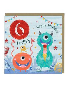 6th Birthday Card - Monster