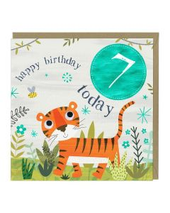 7th Birthday Card - Tiger
