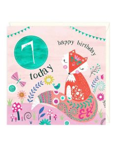 7th Birthday Card - Fox