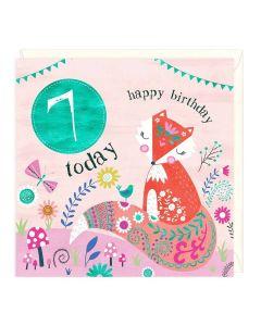 7th Birthday Card - Fox