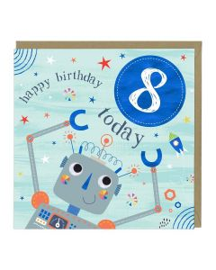 8th Birthday Card - Robot