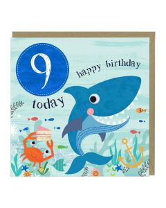 9th Birthday Card - Shark