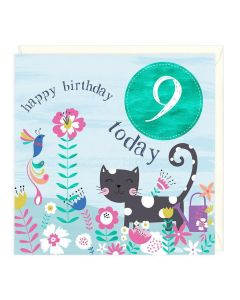 9th Birthday Card - Cat