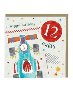 12th Birthday Card - Racing Car