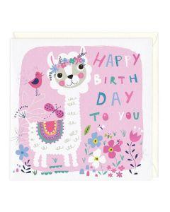 Happy Birthday Card - Little Llama