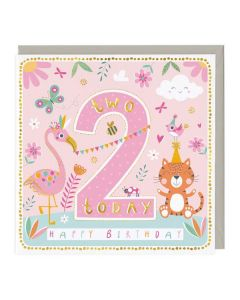 2nd Birthday Card - Colourful Lion