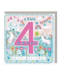 4th Birthday Card - Colourful Horse