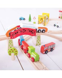 Bigjigs Transportation Wooden Train Set