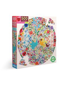 Eeboo Blue Bird Yellow Bird 500 Piece Round Jigsaw Puzzle