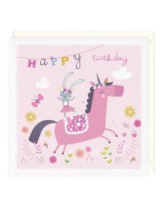 Happy Birthday Card - Bunny & Unicorn