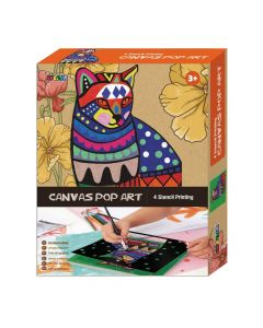 Avenir - Canvas Pop Art Stencil Printing - Cat