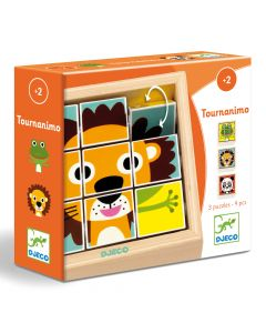 Djeco Toddler Wooden Block Puzzle - Tournanimo