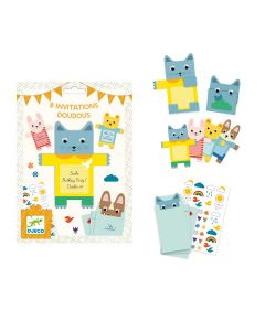 Djeco Party Invitations - Cuddly Animals