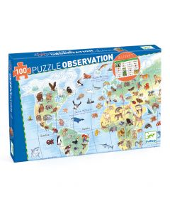 World's Animals + Booklet - Djeco Observation Puzzle FSC Mix