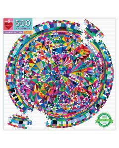Eeboo Triangle Pattern 500 Piece Round Jigsaw Puzzle