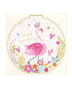Flamingo Happy Birthday Round Card