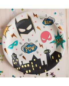"Superhero Party Plates - small 7"" (x8) - save 25%"