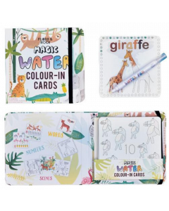 Magic Water Colour-In Cards Animals