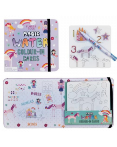 Magic Water Colour-In Cards Fairy Unicorn