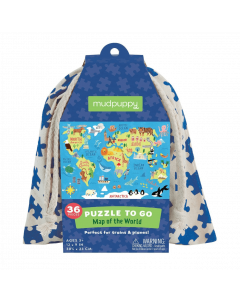 Mudpuppy Puzzles To Go - Map of the World