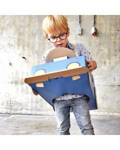 Blue Cardboard Racing Car Costume