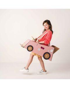 Pink Cardboard Racing Car Costume