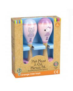 Orange Tree Toys - Pink Mouse & Cat Maraca Set - save 10%