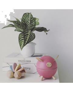 PLAN Toys Wooden Piggy Bank - Pink