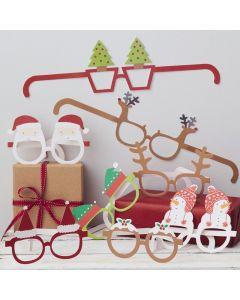 Ginger Ray 8 Novelty Paper Christmas Glasses