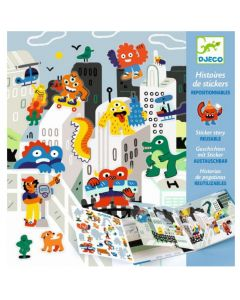 Djeco Sticker Stories - Monster Invasion