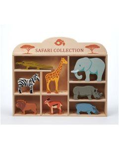 Tender Leaf Toys 8 Safari Animals & Shelf